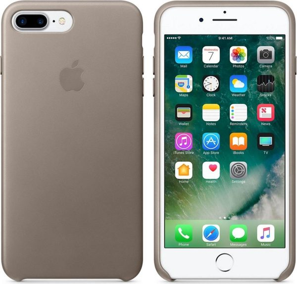 Apple Lederen Back Cover voor iPhone 7/8 Plus - Taupe